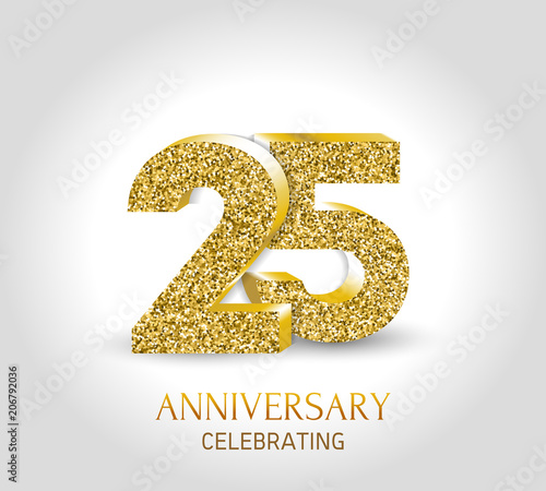 Anniversary Card Template | 25th Anniversary Card Template With 3d Gold Colored Elements Buy