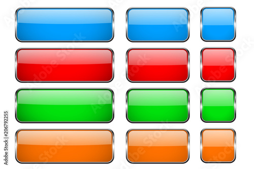 Fotografía  Colored rectangle glass 3d buttons with metal frames