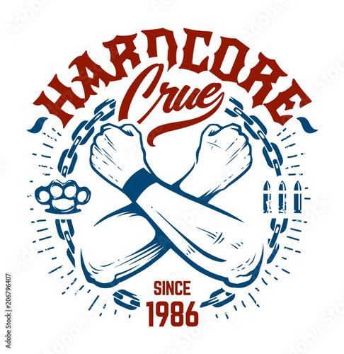 Vászonkép Hardcore Emblem Vector Art