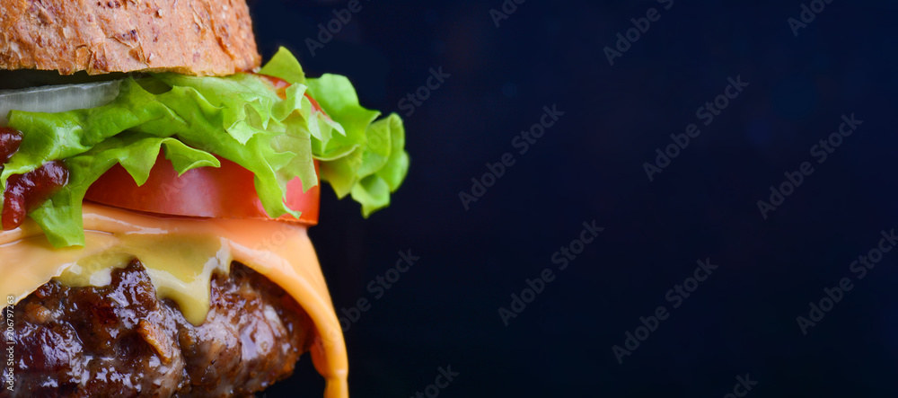 Fototapety, obrazy: Burger flyer. Cheese burger with grilled meat, cheese, tomato, salad and onion rings. Close-up of delicious fresh home made burger with salad and cheese on bark blue background