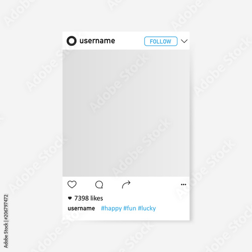 Fototapeta Social network photo frame. Illustration isolated on background. Graphic concept for your design obraz na płótnie