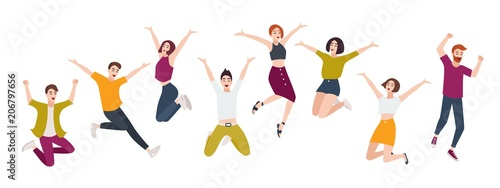 Photo  Group of young happy people jumping together with raised hands