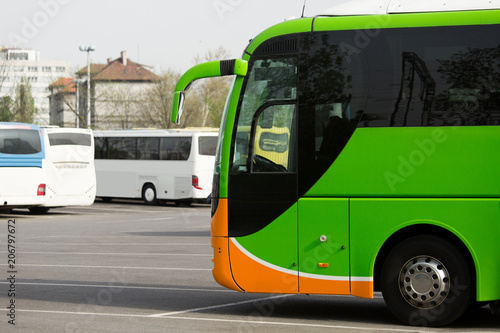 Bus station. Parking of tourist buses