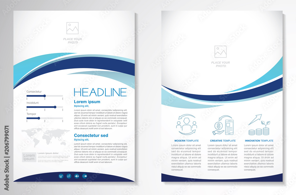 Fototapeta Template vector design for Brochure, AnnualReport, Magazine, Poster, Corporate Presentation, Portfolio, Flyer, infographic, layout modern with blue color size A4, Front and back, Easy to use and edit.