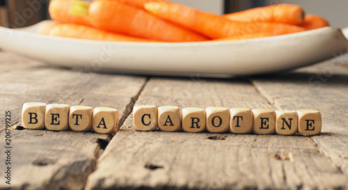 Beta carotene on wooden dices