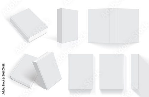 Fotografie, Obraz  white books with thick cover from different sides isolated on white background m