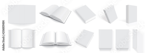 white books with thick cover from different sides isolated on white background m Billede på lærred