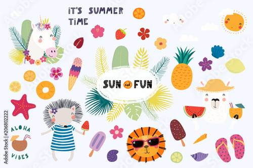 Recess Fitting Illustrations Big set of cute funny animals and summer design elements and quotes. Isolated objects on white background. Vector illustration. Scandinavian style flat design. Concept for children print.