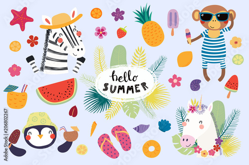 Printed kitchen splashbacks Illustrations Big set of cute funny animals and summer design elements and quotes. Isolated objects on white background. Vector illustration. Scandinavian style flat design. Concept for children print.