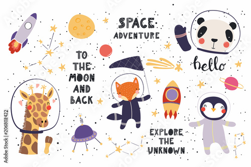 Big set of cute funny animal astronauts in space, with planets, stars, quotes. Isolated objects on white background. Vector illustration. Scandinavian style flat design. Concept for children print.