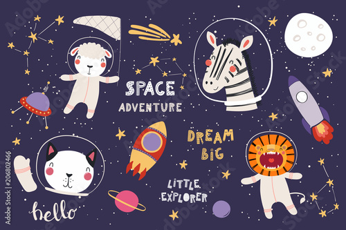 Tuinposter Illustraties Big set of cute funny animal astronauts in space, with planets, stars, quotes. Isolated objects on white background. Vector illustration. Scandinavian style flat design. Concept for children print.
