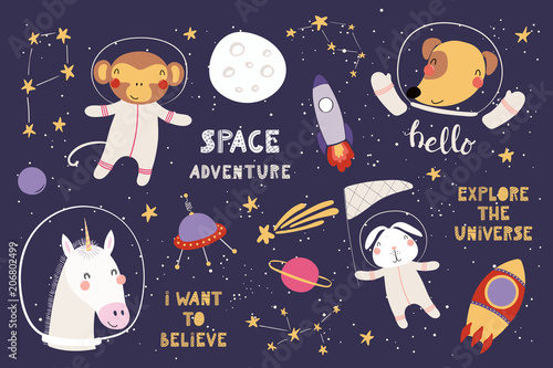 Printed kitchen splashbacks Illustrations Big set of cute funny animal astronauts in space, with planets, stars, quotes. Isolated objects on white background. Vector illustration. Scandinavian style flat design. Concept for children print.