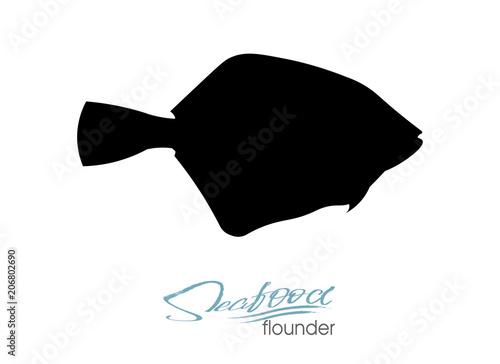 Flounder fish silhouette Tableau sur Toile