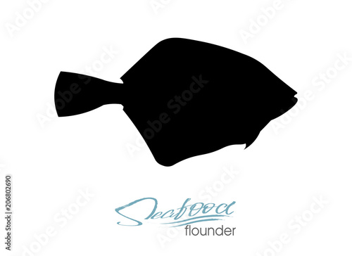 Flounder fish silhouette Canvas Print