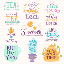 Tea Time Lettering Logo Quote ...
