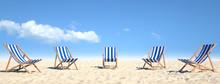 Viele Strandstühle Auf Sand A...