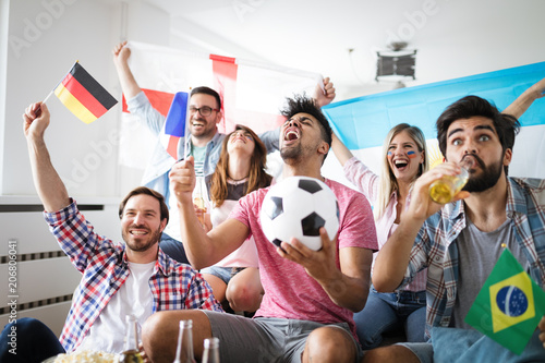 Papiers peints Individuel Group of multi-ethnic people celebrating football game