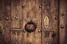 Wooden Door With Old Metal Loc...