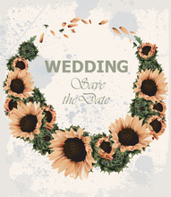 Vintage Wedding Invitation With Sunflowers Wreath Vector. Beautiful Spring Summer Card Old Grunge Style. 3d Detailed Illustrations