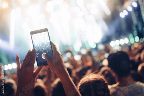 Portrait of happy crowd enjoying at music festival - 206811653