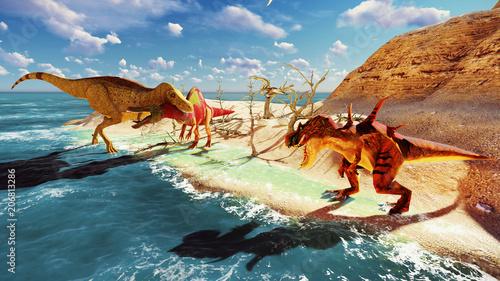 Foto auf AluDibond Drachen 3D rendering scene of the giant dinosaur