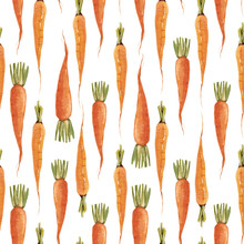 Watercolor Carrot Vector Pattern