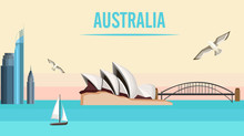 Australia Background With Opera House And Harbor Bridge.