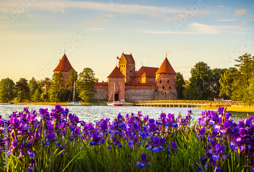 Poster Con. Antique Trakai Island Castle - a popular tourist destination in Lithuania