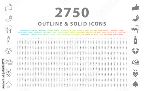 Fotomural Set of 2750 Outline and Solid Icons on White Background