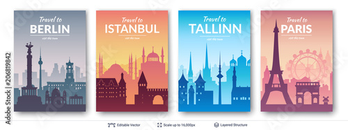 European famous city scapes set.