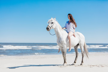 Girl sitting on a white horse by the sea
