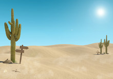 Sandy Desert Landscape With Cactus And Wooden Sign On Blue Sky Background, 3D Rendering