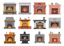 Fireplace Vector House Christm...