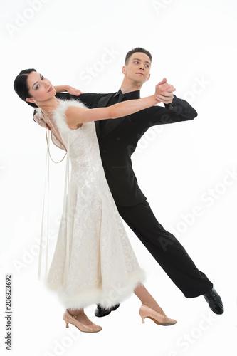 ballroom dance couple in a dance pose isolated on white Fototapeta