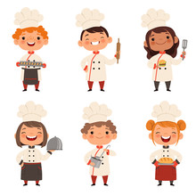 Characters Set Of Children Cooks. Cartoon Mascots In Various Dynamic Poses