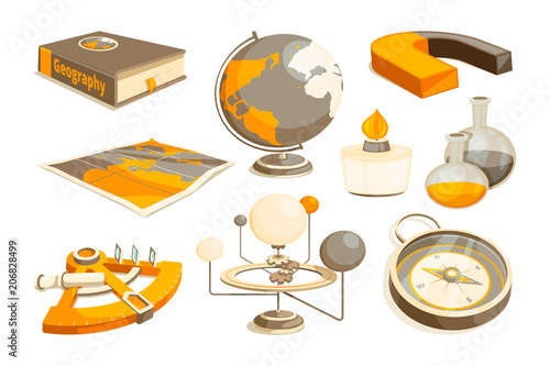 Symbols Of Science And Geography Tools For Laboratory Vector