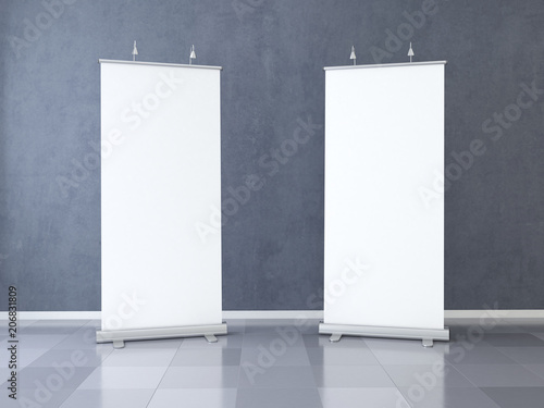 Fotografie, Obraz  Two Blank roll up banner display. Template mockup. 3d render