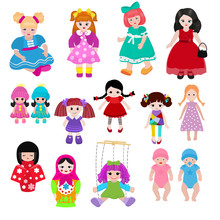 Vector Doll Toy Cute Girl Fema...