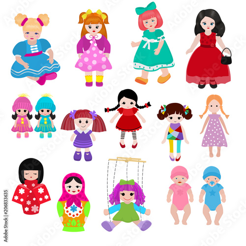 Obraz na plátně Vector doll toy cute girl female set illustration childhood baby dress face chil