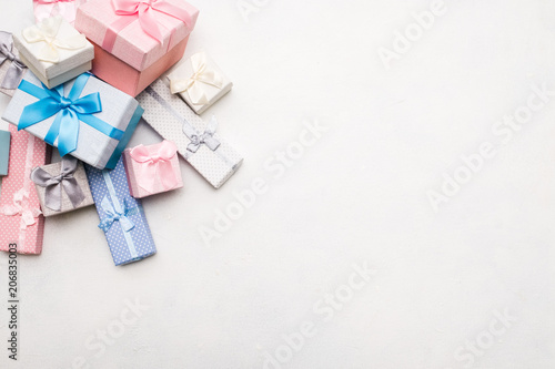 Poster  assortment of gift boxes on white background