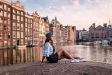 Woman Waterfront Amsterdam Sun...