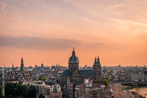 Plakat Zmierzchu linia horyzontu Amsterdam stary miasto