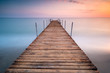 sunset pier in the sea of minimalism