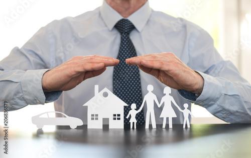 Fototapeta Concept of family, home and car insurance obraz