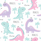 Fototapeta Dino - seamless princess dinosaur animal pattern vector illustration