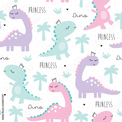 Materiał do szycia ilustracja wektorowa bezszwowe dinozaur księżniczka wzór zwierzę