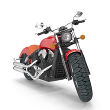 Old Retro Motorcycle Isolated On White. Front View. 3D Illustration