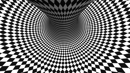 Vector optical illusion black and white twisted checker abstract background.