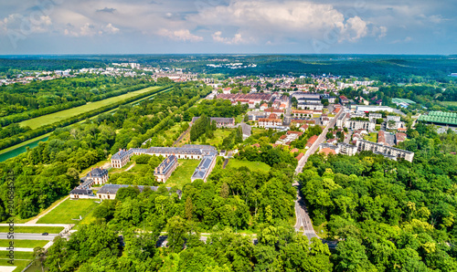 Aerial view of Fontainebleau and Avon Canvas Print