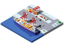 Vector Isometric Cargo Port With Two Cranes Unloading Containers From Container Ship